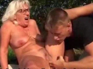 grandma bonks younger lad outdoors
