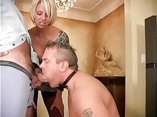 husband-slave is engulfing a friend of his wife
