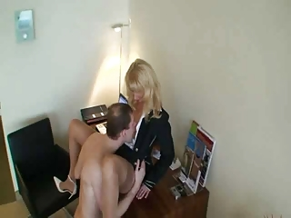 older blonde whore with younger guy