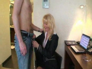 older golden-haired bitch with younger boy