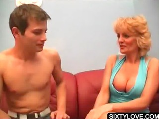 golden-haired aged has her assets licked
