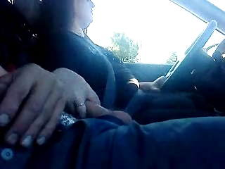 wife jacking chap off whilst driving