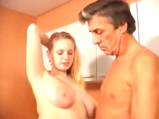 busty golden-haired nurse copulates her older