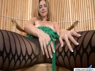 sexy milf in hose strips and masturbates