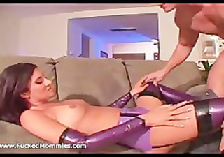 brunette mommy in latex lingerie engulf and fuck