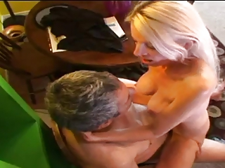 older rides a jock and acquires a mouthful of cum