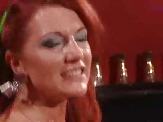 mature bitch in black nylons with fiery red hairs