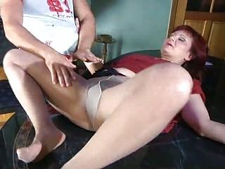 lascivious mamma with nylon tights stuffed
