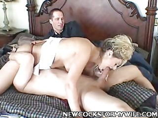 blond wife sucking off a chunky cock
