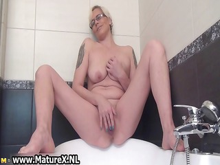 sexually excited housewife widening and pleasing