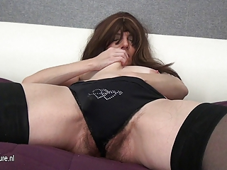 hirsute older mother and her biggest toy