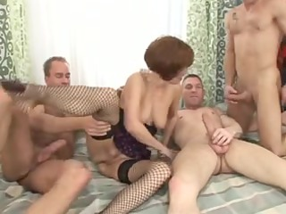 older merilyn double penetration group sex with