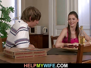 he brought pizza and drilled his youthful wife