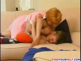redhead russian mother i blows him on the bed and