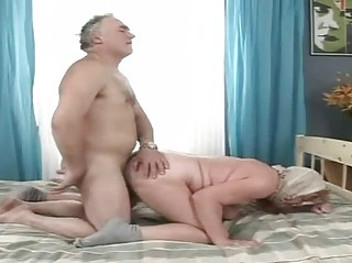 old grandma bends over and gets slammed doggystyle