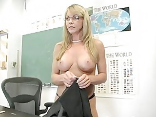 blonde aged teacher shows off her attractive