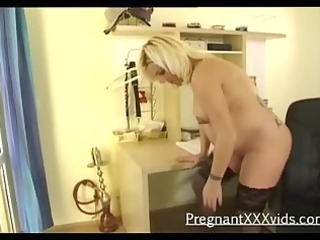 a teasing blond pregnant solo