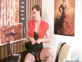 hawt office milf in fishnets
