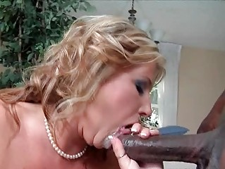 spruce blonde milf in black nylons team-fucked by