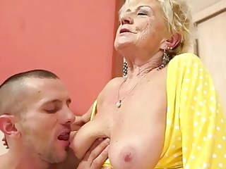 breasty granny acquires her bushy bawdy cleft
