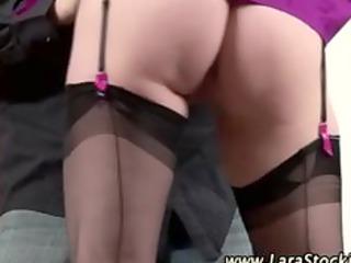 british stockinged aged bitch seduces schlong