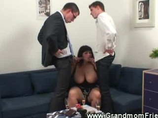 horny fellows fondling on obese aged