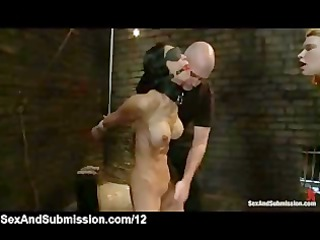 tied babes blindfolded and caned by taskmaster