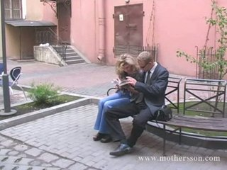 russian young chap with his girlfriend and mama