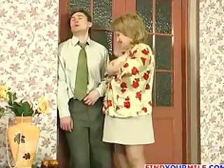 russian mamma and slender chap fucking