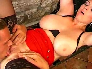 naturally breasty milf slut gets a swinging pussy