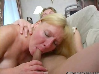 breasty blond russian aunt blows and bangs her