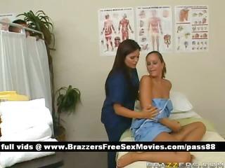 enjoyable brunette hair nurse washes a patient