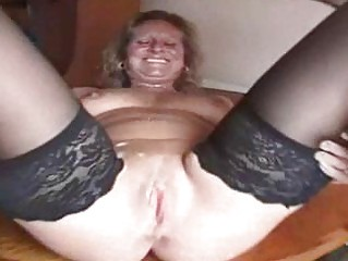chubby older slut in stockings is a creampie ho