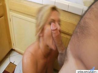 hardcore aged milf in kitchen receives surprise